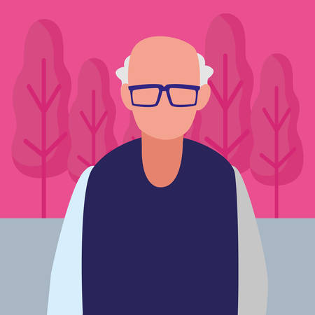 Old man icon over white background, vector illustration