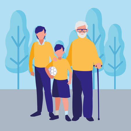 Old man with his family over landscape background, colorful design. vector illustration