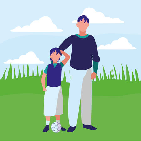 Father and son over landscape background, vector illustration