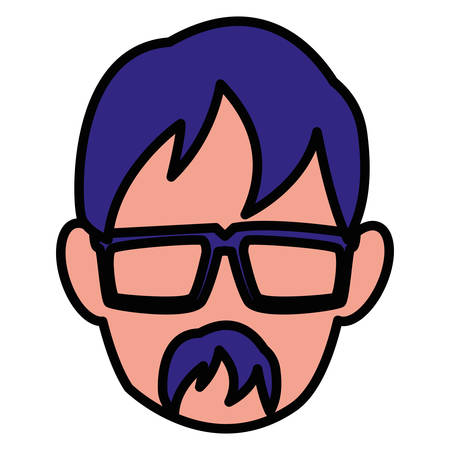 Avatar man head with glasses over white background, vector illustration