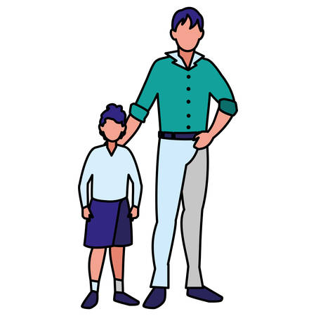 Father and son over white background, vector illustration Stockfoto - 114174452