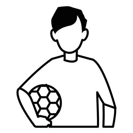 Avatar boy holding a soccer ball over white background, vector illustration