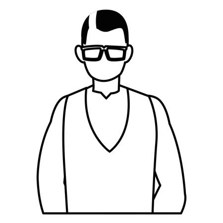 Avatar old man with glasses over white background, vector illustration
