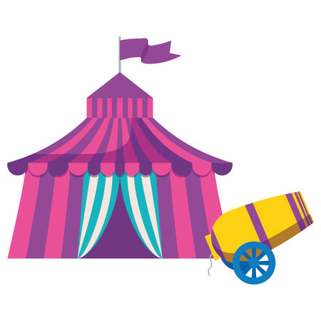 circus tent with canon vector illustration design