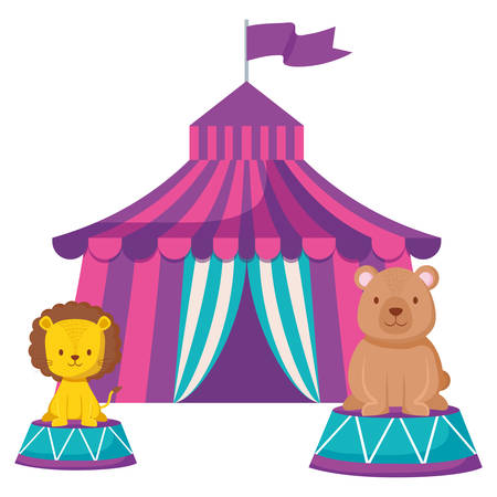 circus tent with bear teddy vector illustration design 免版税图像 - 114178699