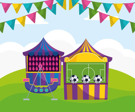 carnival kiosks with soccer balloons and water vector illustration design