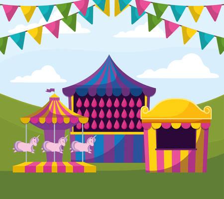 carnival kiosk with water balloons vector illustration design