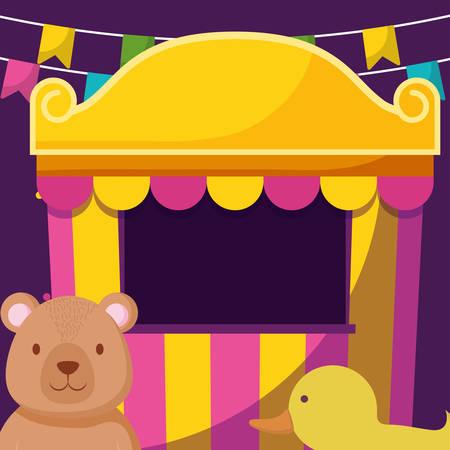cute bear teddy with circus items vector illustration design