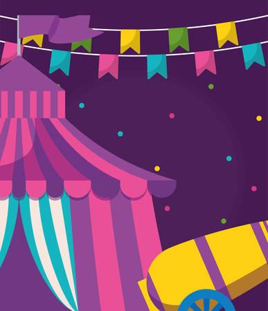 circus tent entertainment icon vector illustration design