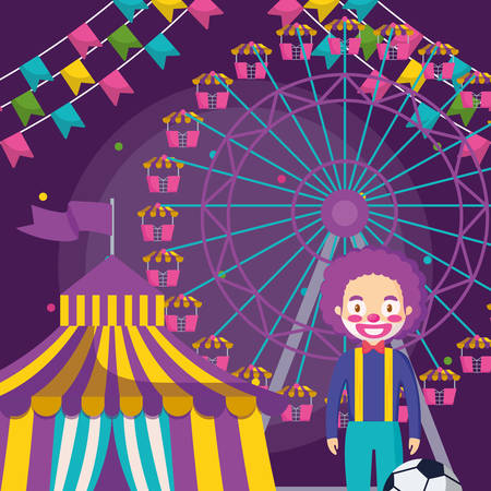 circus tent with clown and wheel fortune vector illustration design 일러스트