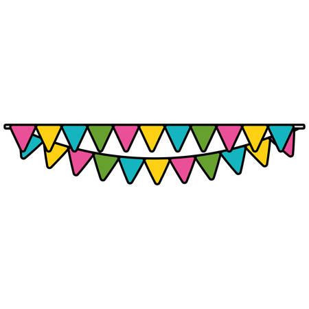 garlands hanging decorative icon vector illustration design  イラスト・ベクター素材