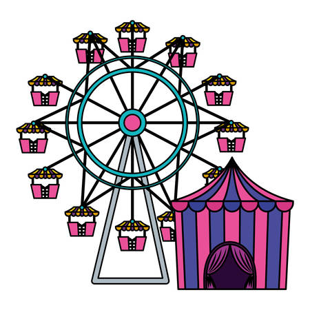 circus tent with ring and wheel vector illustration design