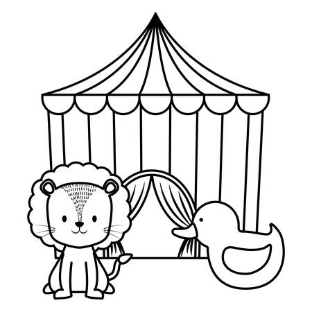 Cute Circus Lion With Tent Vector Illustration Design