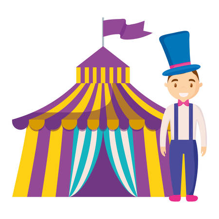 magincian circus tent character vector illustration design Vectores