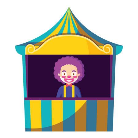 circus clown in kiosk vector illustration design