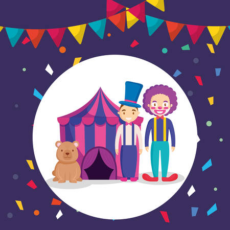 circus tent with bear teddy vector illustration design