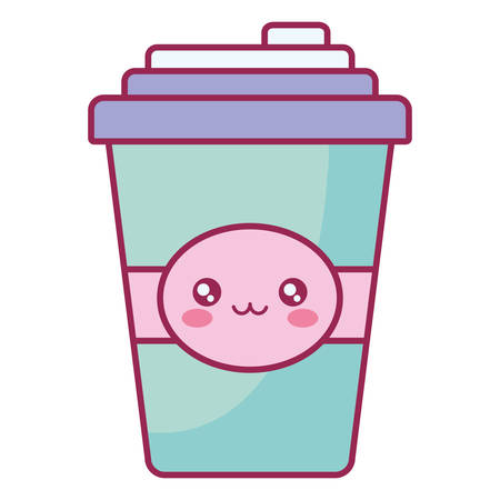 plastic cup container character vector illustration design