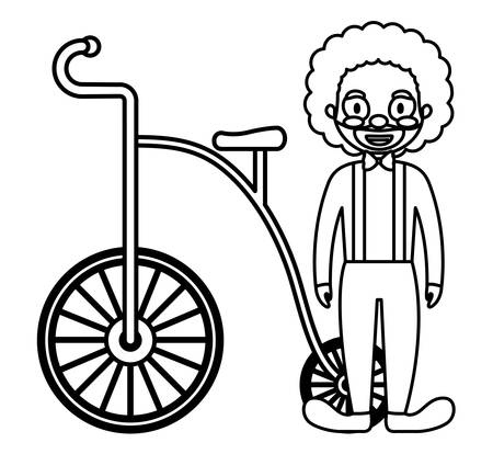circus clown with tricycle vector illustration design