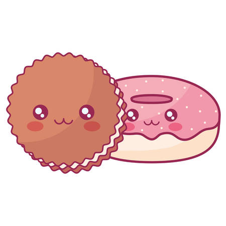 sweet donuts and cookies characters vector illustration design