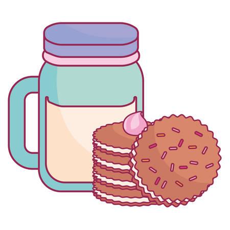 cute beverage jar with cookies vector illustration design