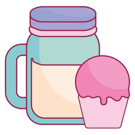 cute beverage jar with cupcake vector illustration design