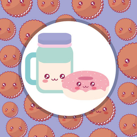 cute beverage jar kawaii character vector illustration design