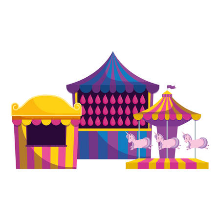 carnival kiosk with water balloons vector illustration design Illustration
