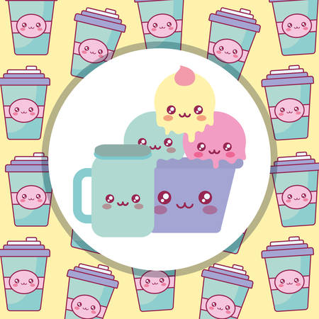 delicious ice cream in cup kawaii character vector illustration design
