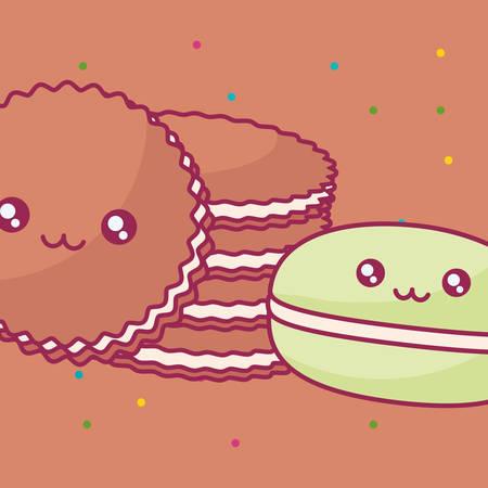 cute cookies kawaii characters vector illustration design