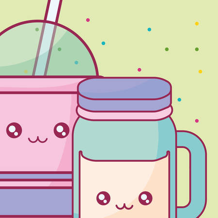 plastic cup with straw and jar kawaii characters vector illustration design