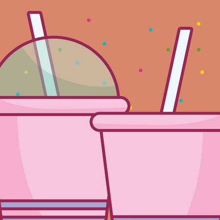 plastic cups with straw vector illustration design