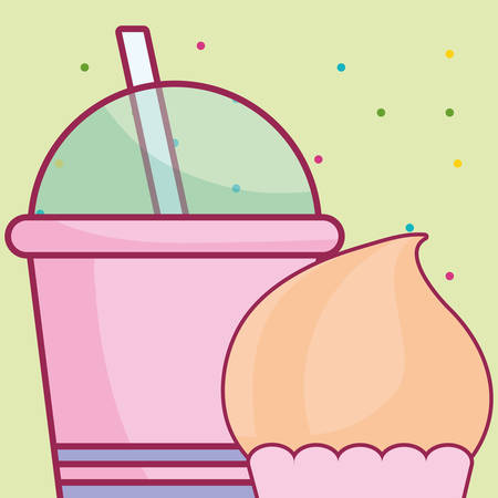 plastic cup with straw and cupcake vector illustration design