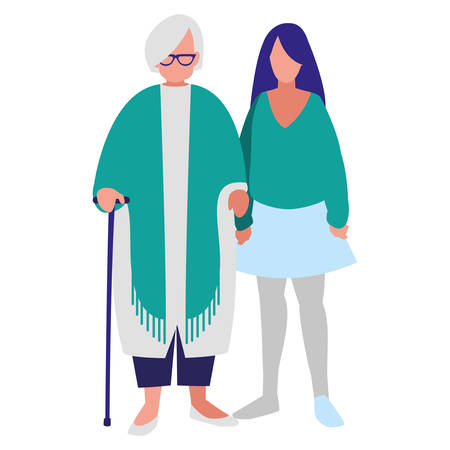 cute grandmother with daughter vector illustration design Illustration
