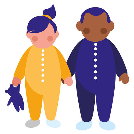 beautiful little kids couple interracial characters vector illustration design