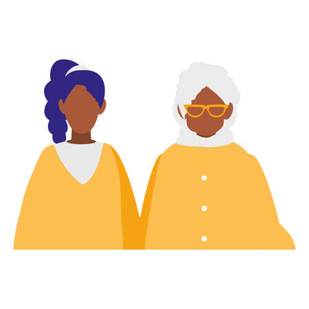 cute grandmother with daughter black characters vector illustration design