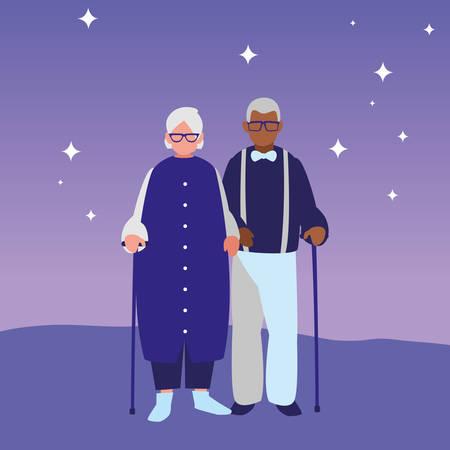 cute grandparents couple interracial characters vector illustration design Illustration