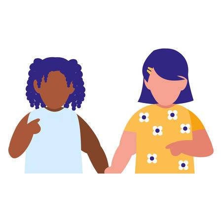 beautiful little girls interracial couple characters vector illustration design Illustration