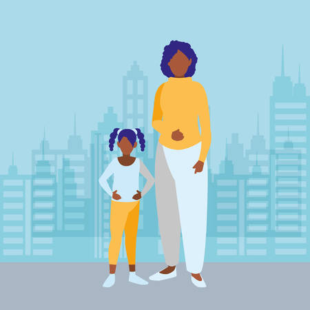 black mother with daughter characters vector illustration design