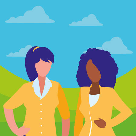 couple of girls interracial characters vector illustration design Çizim