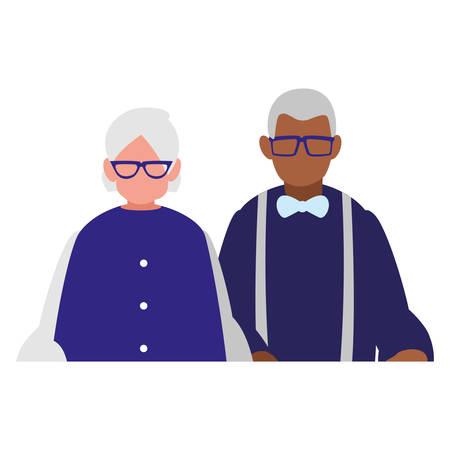 cute grandparents couple interracial characters vector illustration design Stock Vector - 126574594