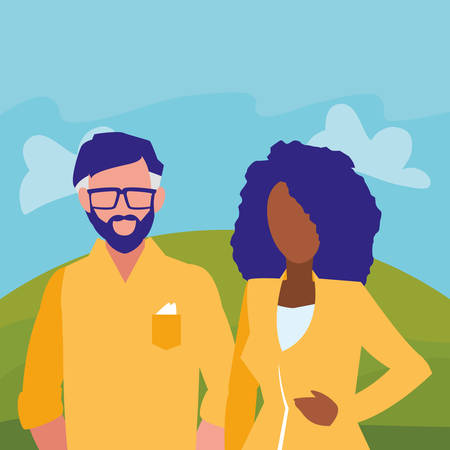 young interracial couple avatars characters vector illustration design