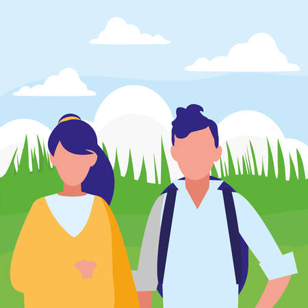 young couple avatars characters vector illustration design 일러스트