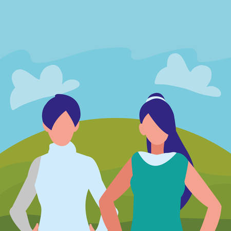 couple of girls avatars characters vector illustration design