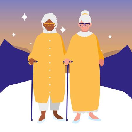 cute grandmothers couple interracial characters vector illustration design Illustration
