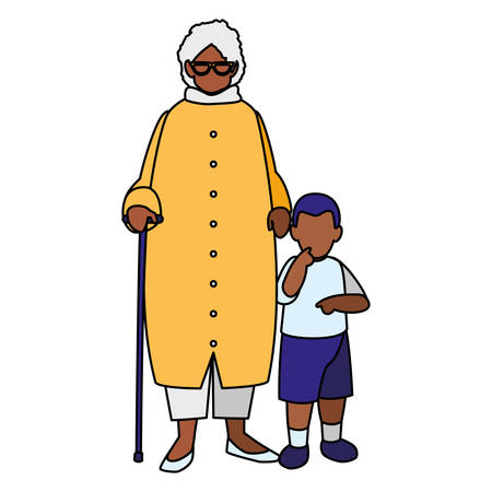 black grandmother with grandson vector illustration design