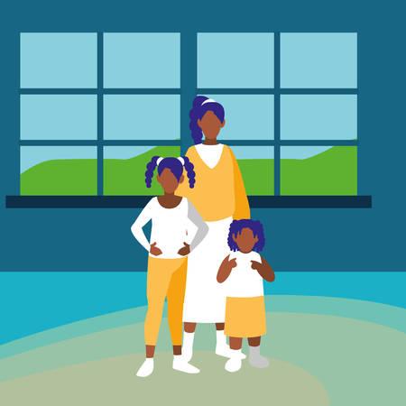 beautiful little black girls characters vector illustration design