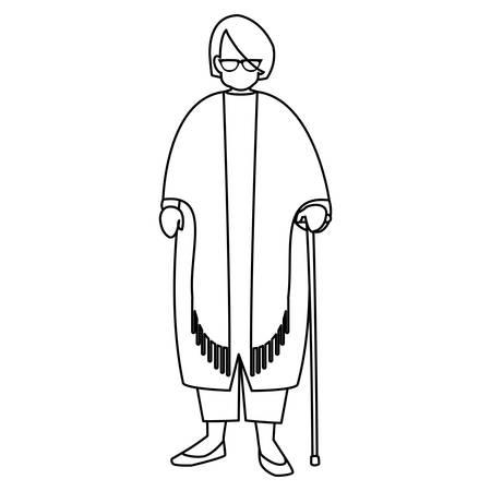 cute grandmother with cane vector illustration design Illustration