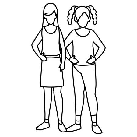 couple of girls avatars characters vector illustration design