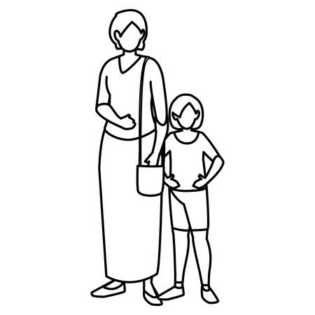 cute mother with daughter characters vector illustration design