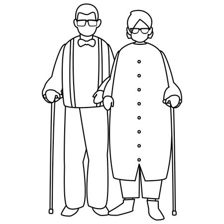 cute grandparents couple characters vector illustration design